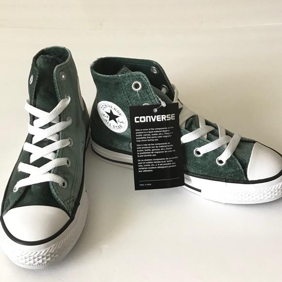 4cd09c1c5240 Girls Converse Green Velvet High Top Sneaker